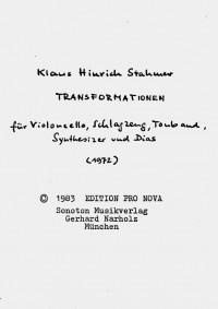 Klaus Hinrich Stahmer Transformationen